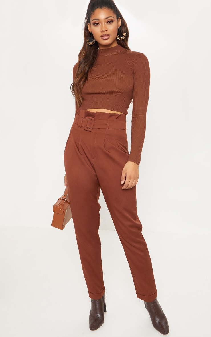Tall Brown Belt Detail Straight Leg Pants 1
