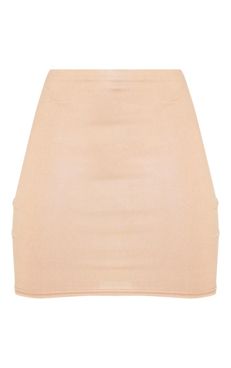Camel Wet Look Mini Skirt 3