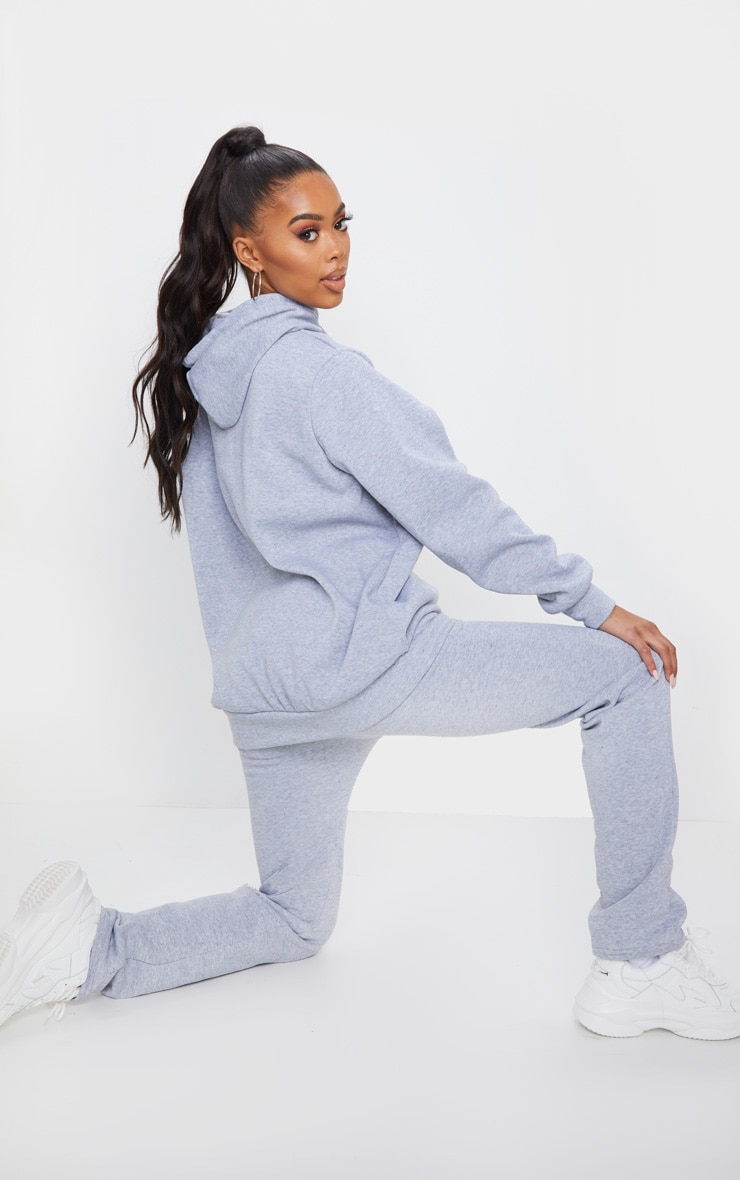 Grey Oversized Sweat Hoodie & Straight Leg Jogger Set 2