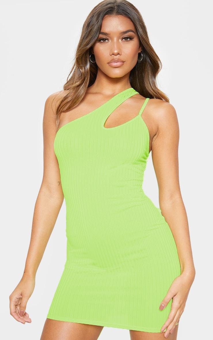 Lime Asymmetric Strap Detail Dress