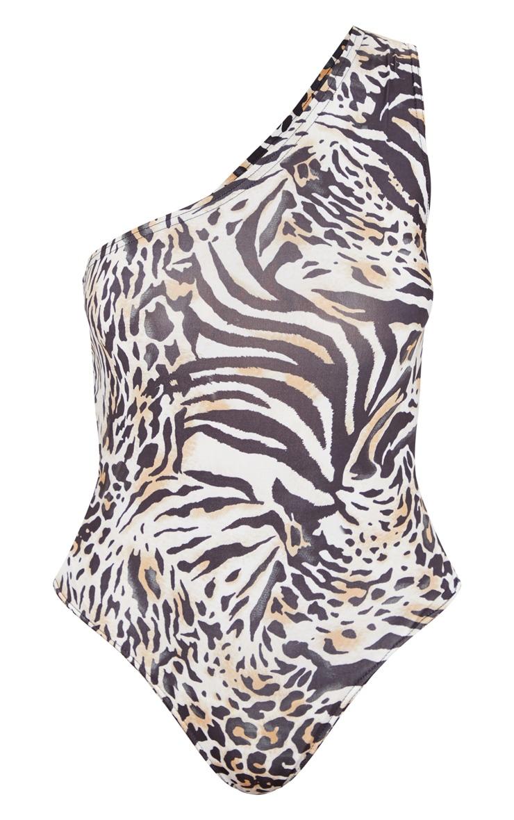 Brown Animal Print Slinky One Shoulder Bodysuit 5