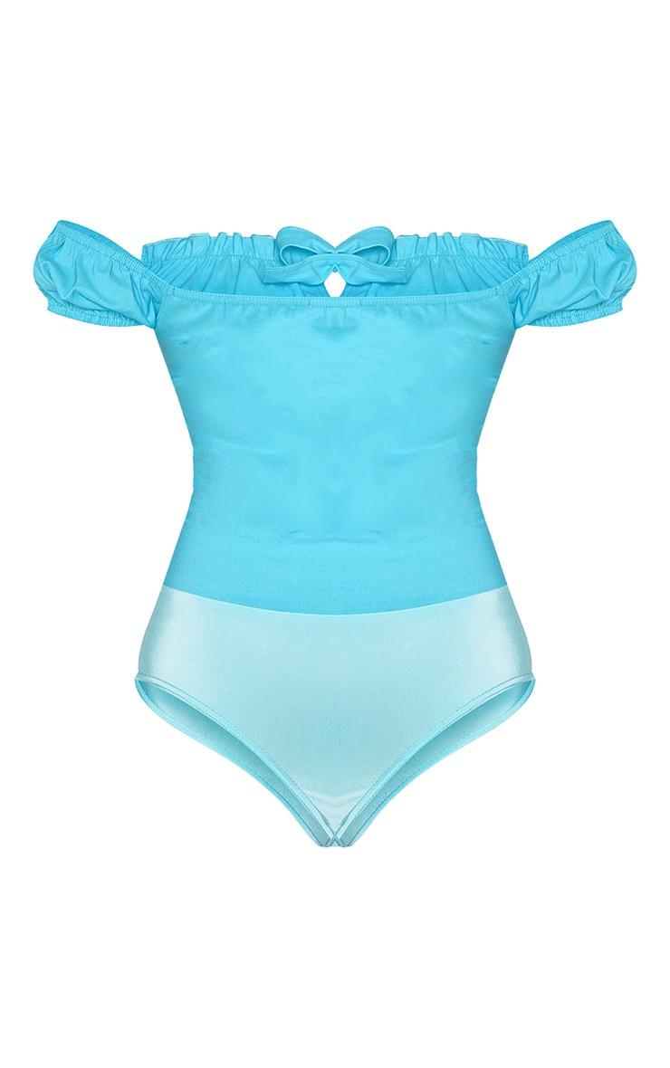Tall - Body bleu turquoise à col bateau et noeud devant 4