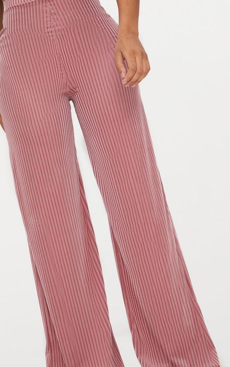 Shape Rose Striped Velvet Wide Leg Pants 5