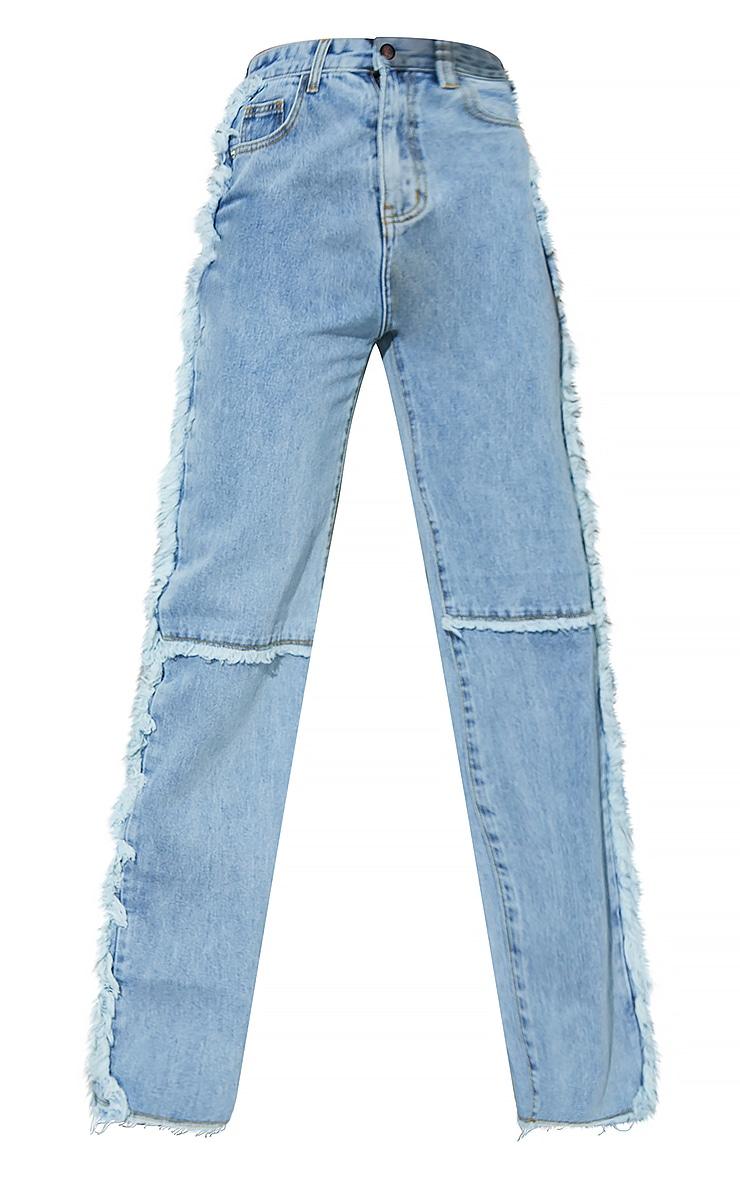 Light Blue Wash Wide Leg Seam Detail Jeans 5