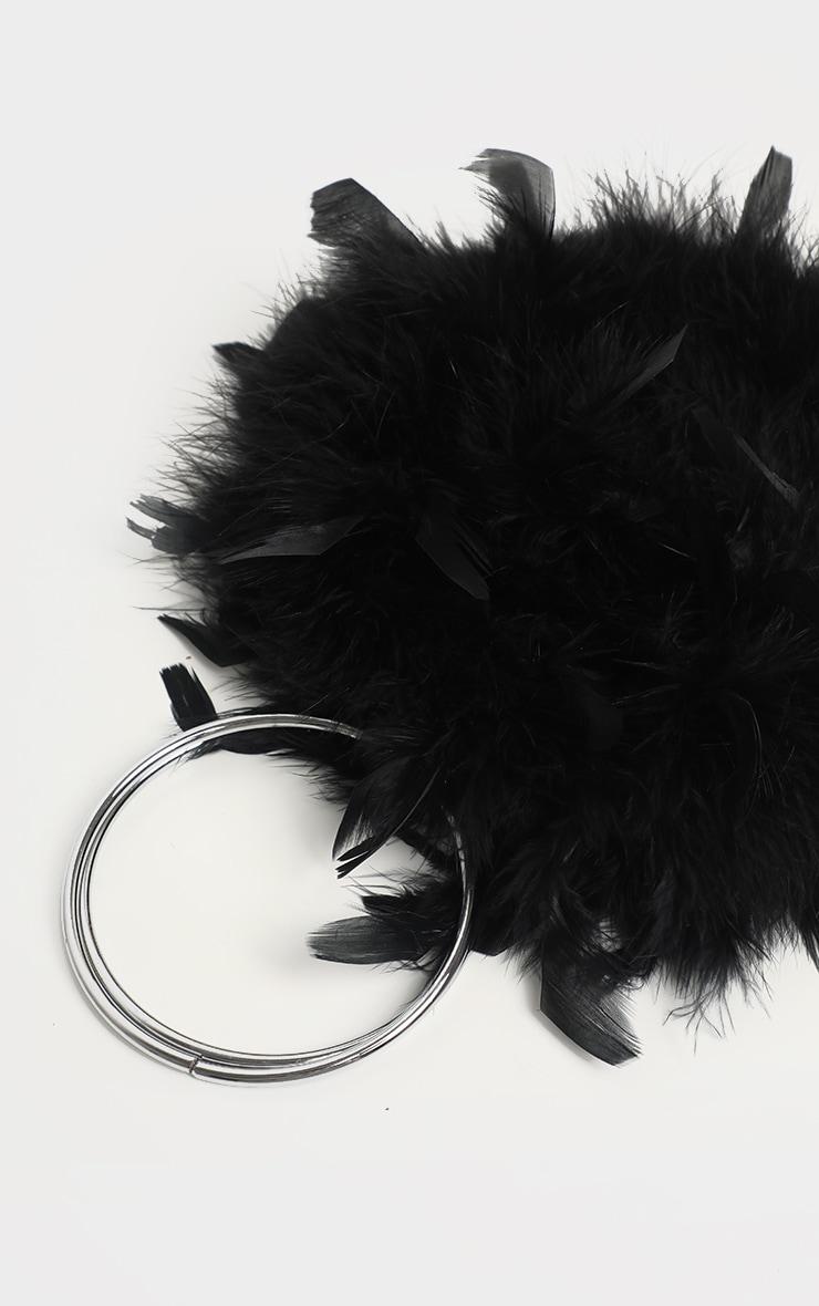 Black Feather Boa Circle Handle Bag 3