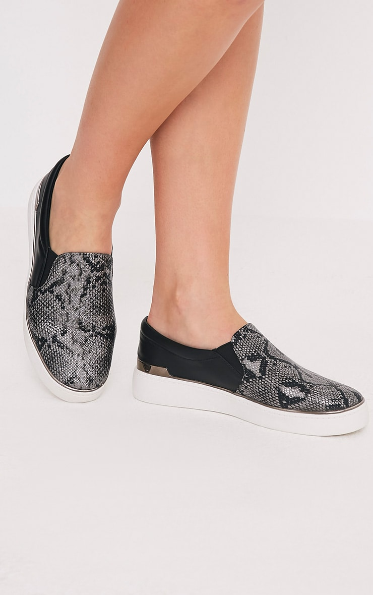 Ania Grey Faux Snake Skin Slip On Trainers 1