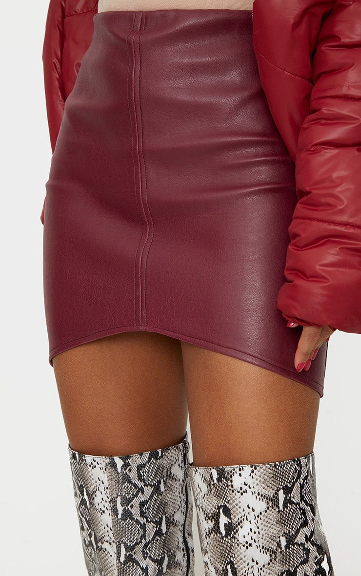 Maroon Faux Leather Asymmetric Panel Mini Skirt 6