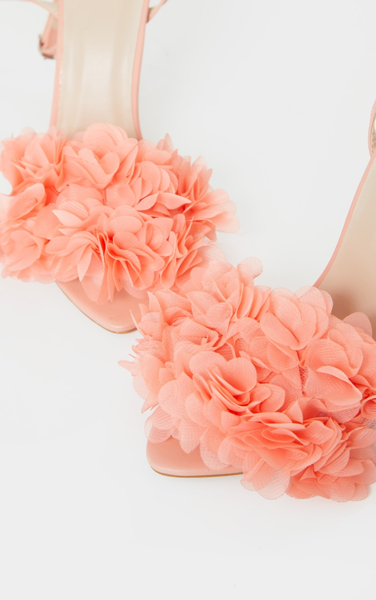 Peach Flower Embellished Strappy Heeled Sandals 4