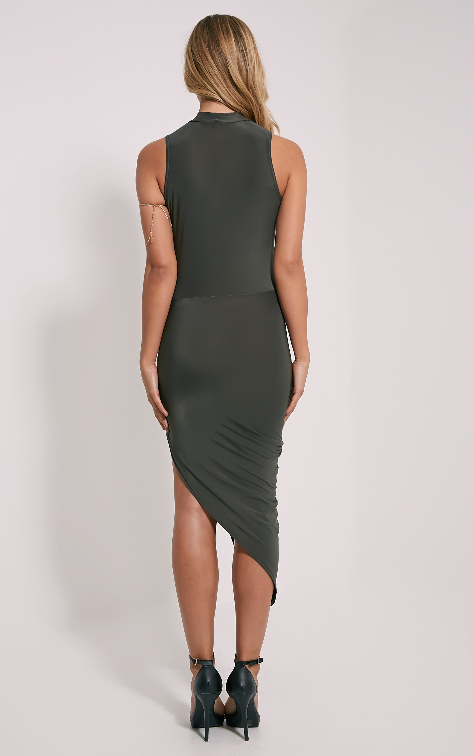 Prim Khaki Slinky Drape Asymmetric Dress 2