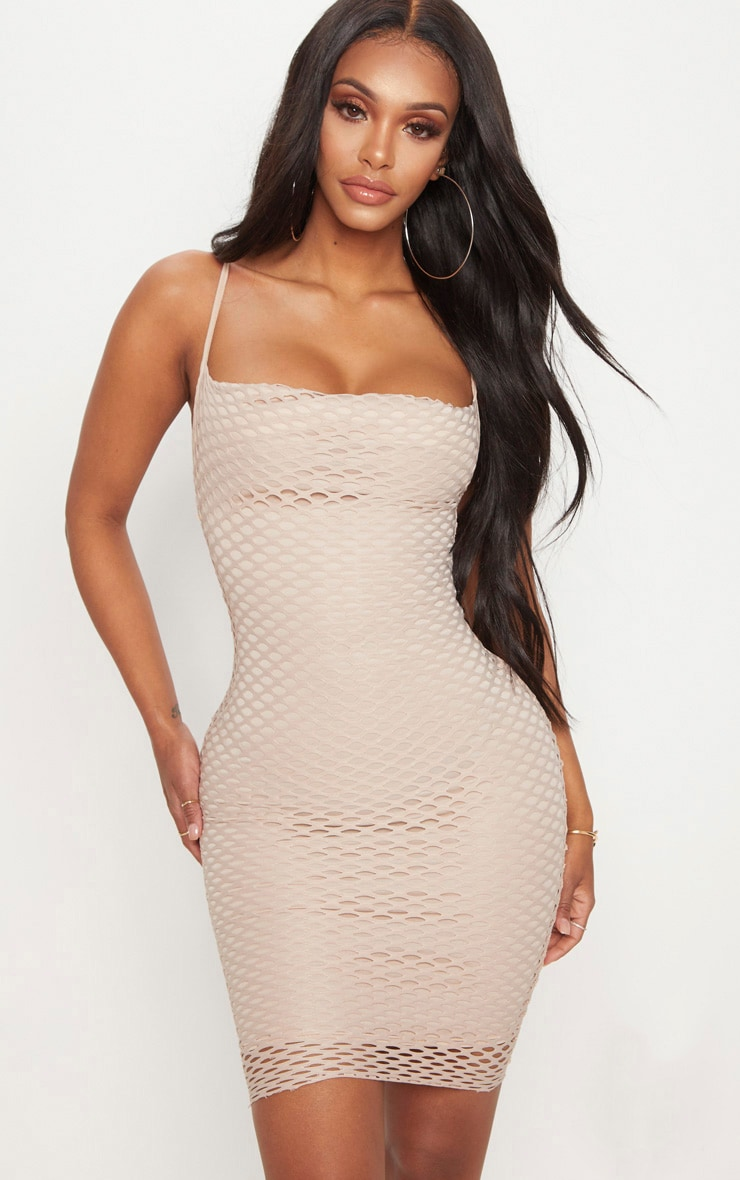 Shape Nude Fishnet Cowl Bodycon Dress 1