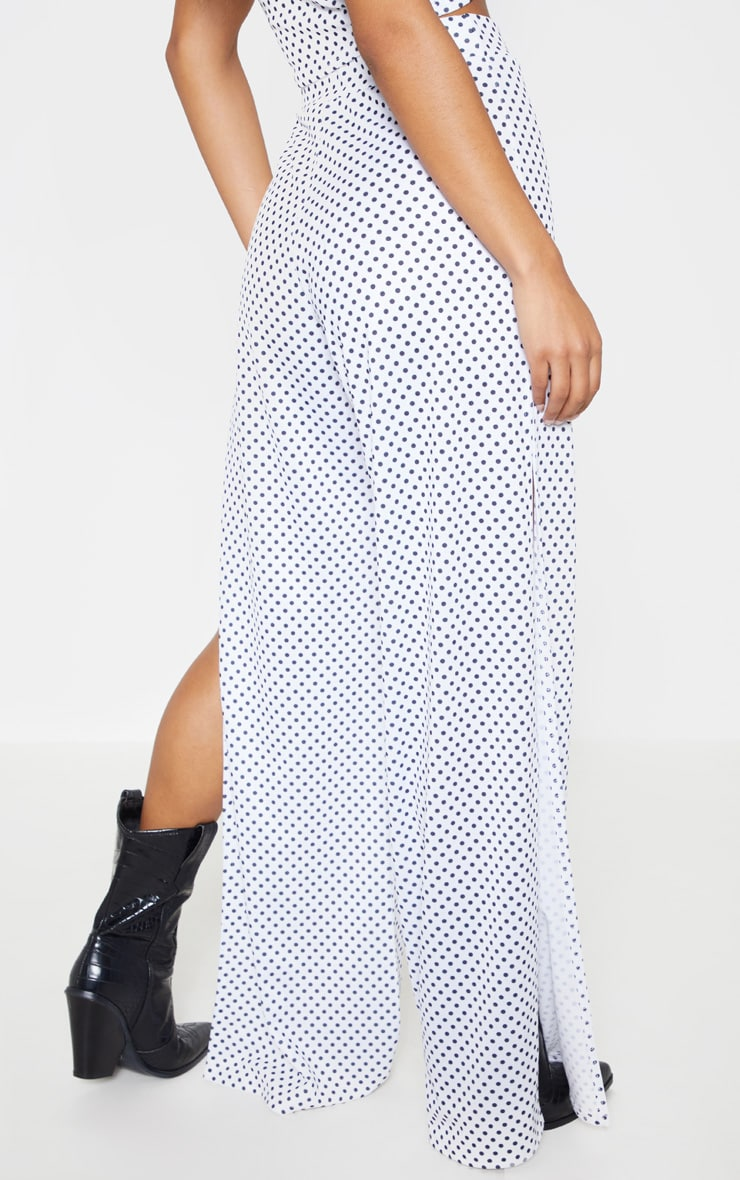White Polka Dot Extreme Split Wide Leg Trouser 5