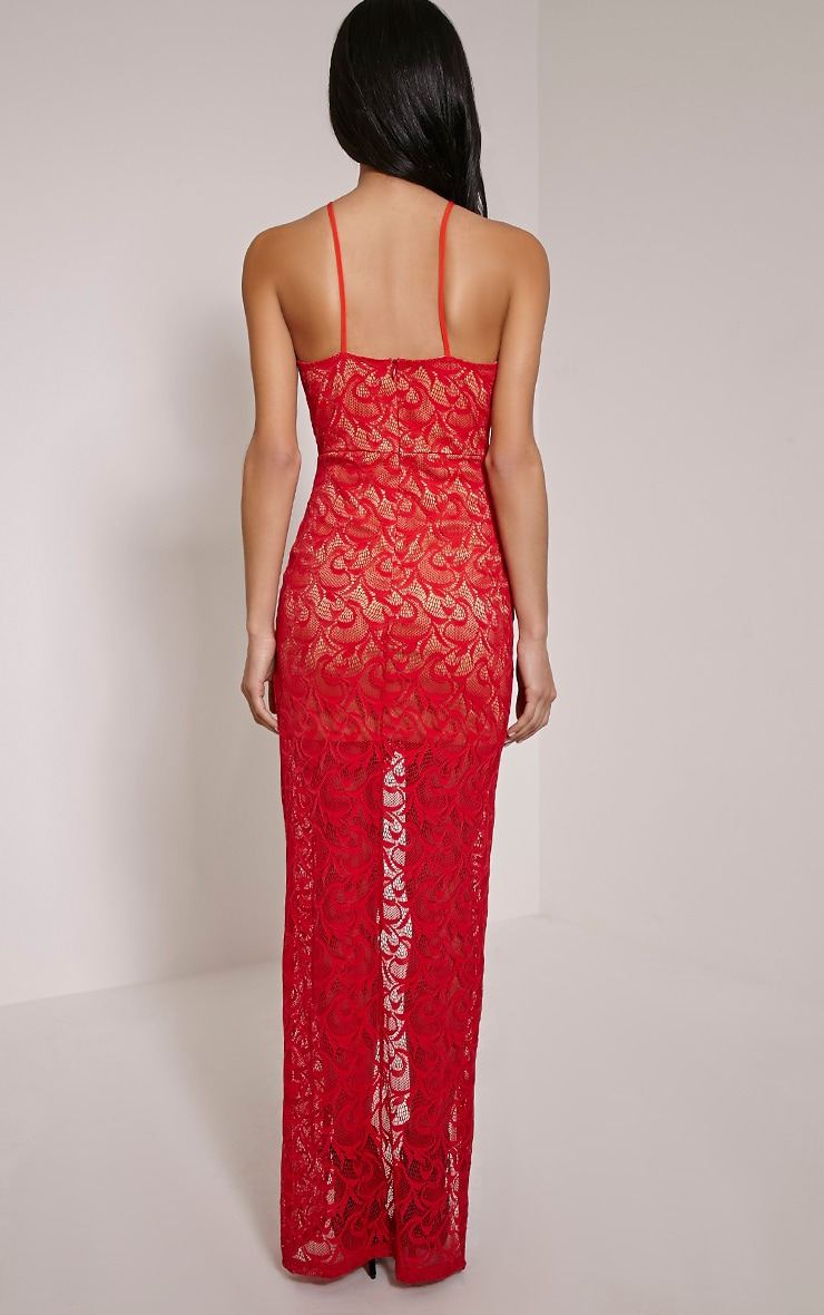 Dianie Red Lace Maxi Dress 2