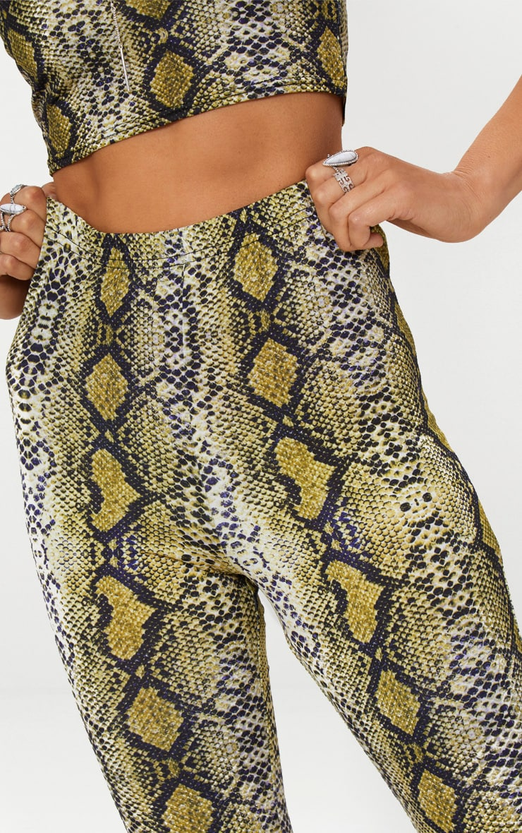 Green Snakeskin Flared Trousers 4