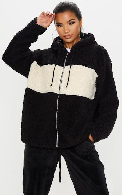 Black Borg Contrast Hooded Oversized Zip Up Jacket