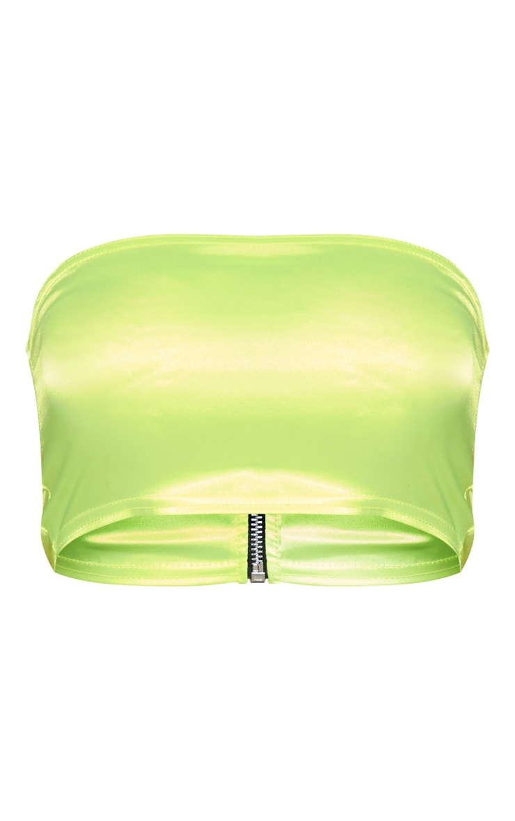 Neon Yellow Satin Bandeau Crop Top 3