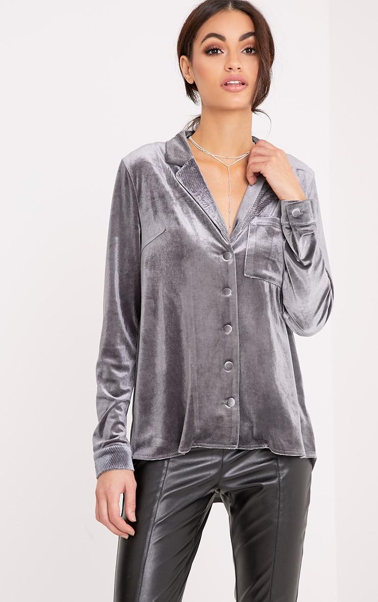 Clara Grey Velvet Pyjama Style Shirt 1