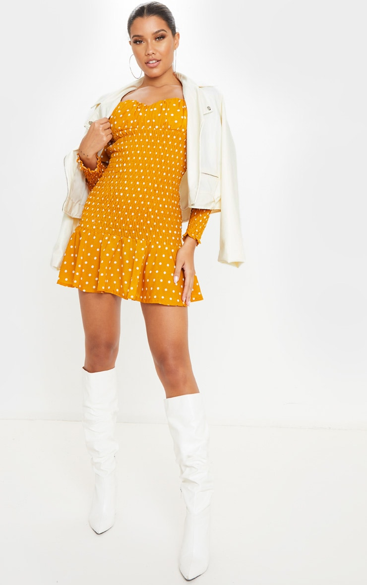Mustard Polka Dot Shirred Long Sleeve Bodycon Dress 4