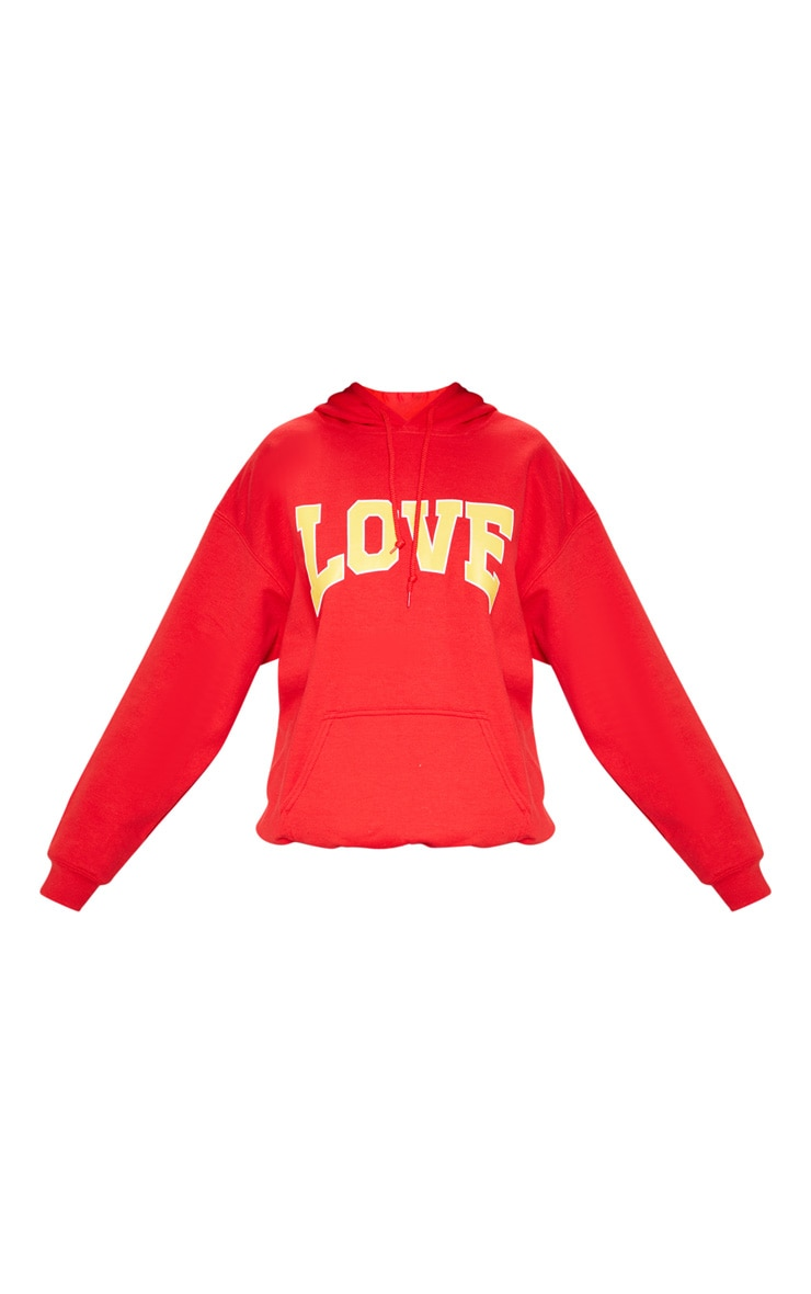 Red Love Hate Slogan Oversized Hoodie 3