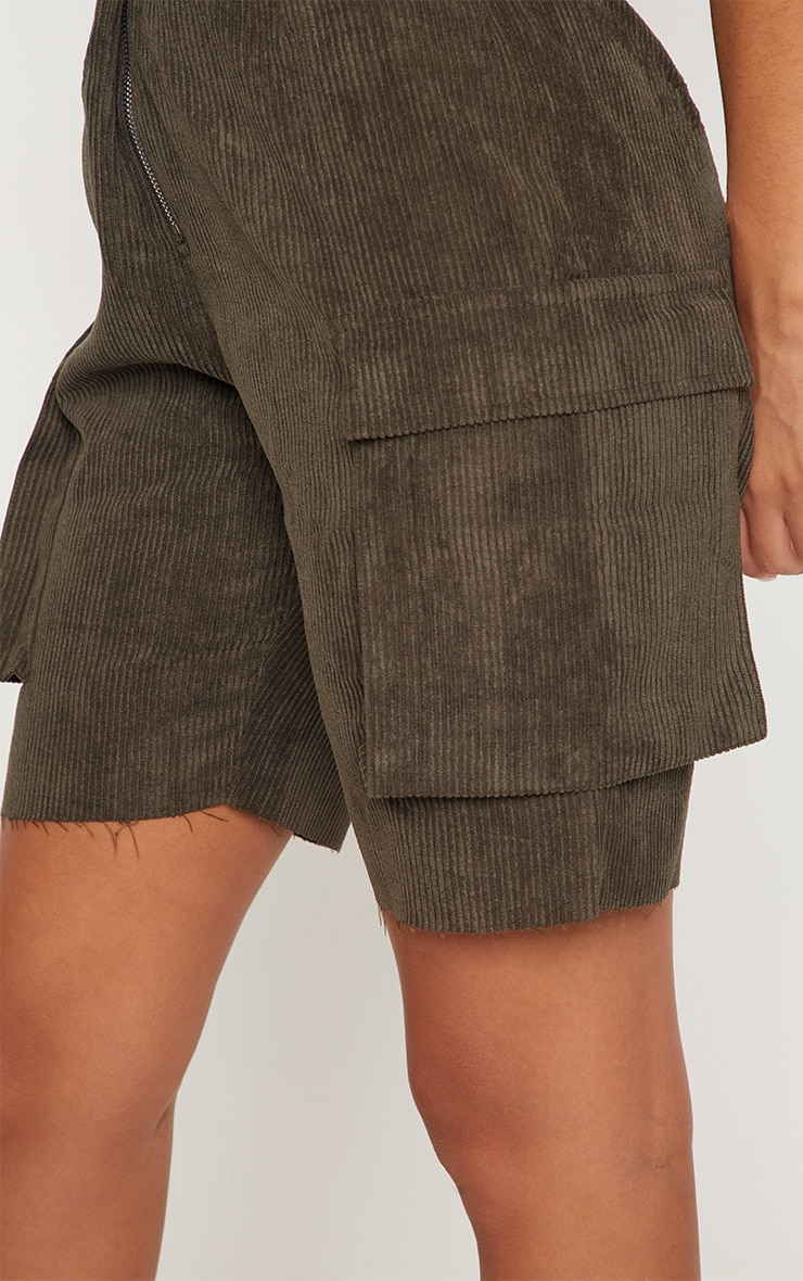 Khaki Cord Boyfriend Fit Shorts 6