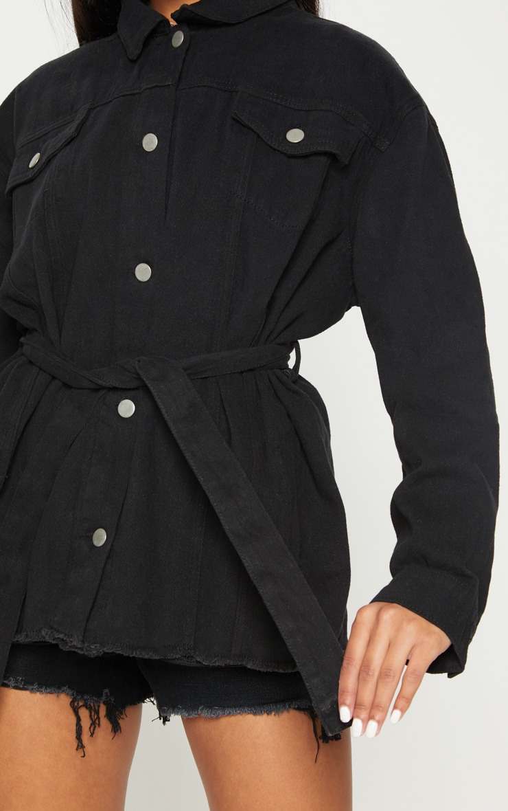 Black Tie Waist Oversized Denim Jacket 5