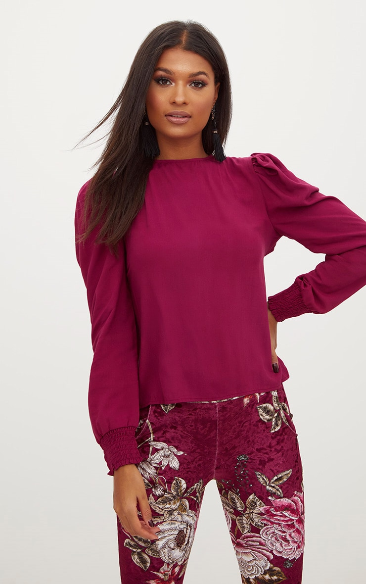 Burgundy Open Bow Back Puff Shoulder Top  1