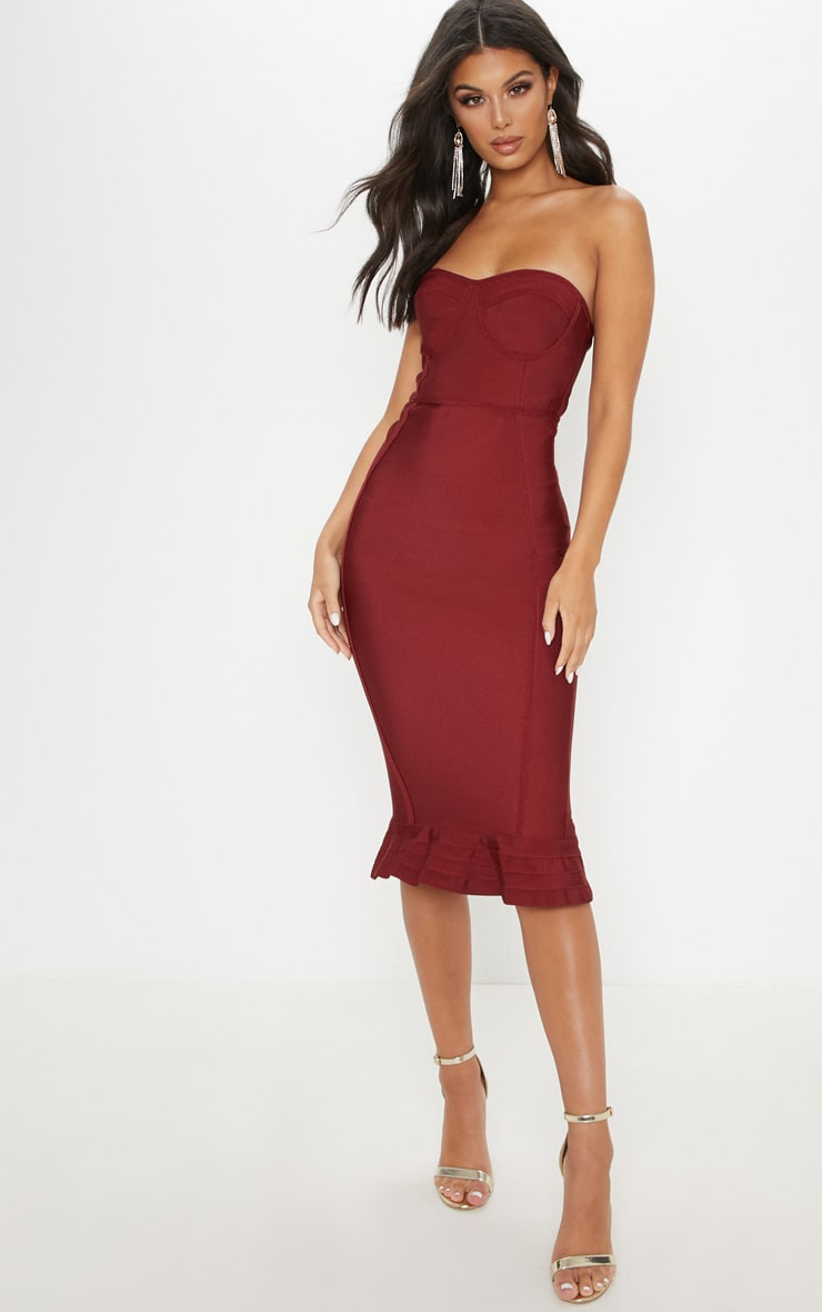 Dark Red Frill Hem Bandage Midi Dress 1
