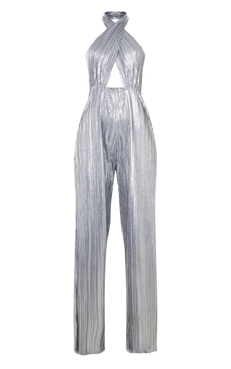 Silver Plisse Halterneck Wide Leg Jumpsuit 3