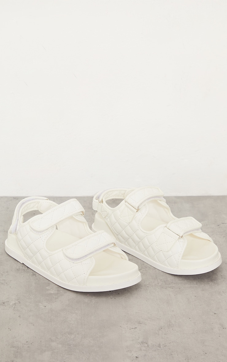 White PU Quilted Velcro Strap Footbed Sandals 1