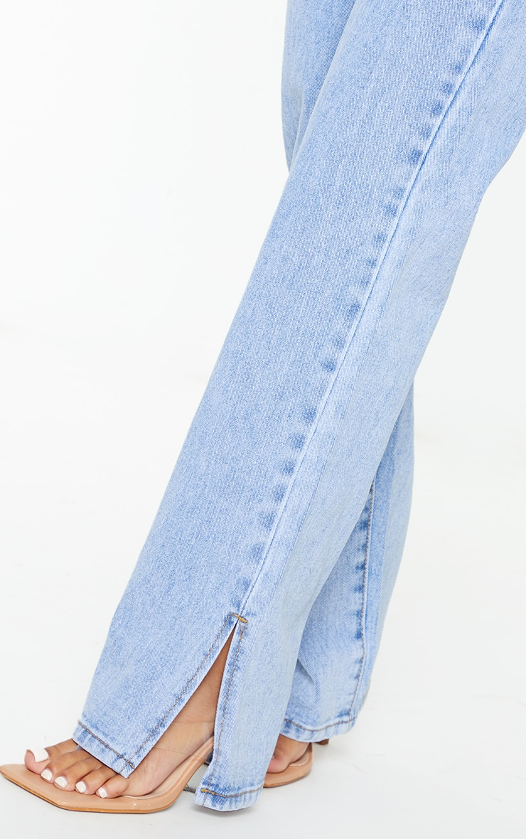 Petite Bleach Wash Split Hem Jeans 4