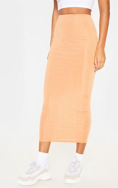 Peach Slinky Rib Midi Skirt