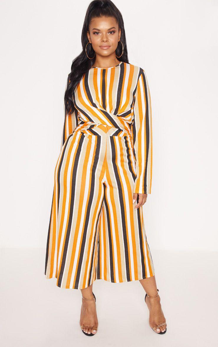 Plus Orange Twist Front Stripe Culotte Jumpsuit 1