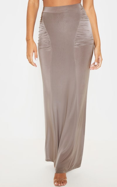 Dove Grey Slinky Ruched Detail Maxi Skirt