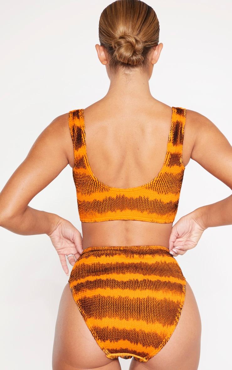 Orange Tie Dye Crinkle High Waist Bikini Bottom 3