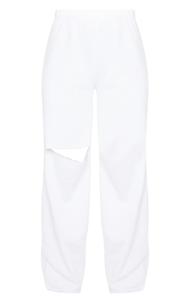 White Ripped Knee Wide Leg Joggers 5