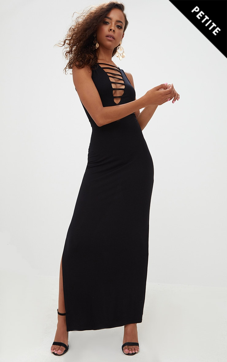 Petite Black Ladder Plunge Maxi Dress 1
