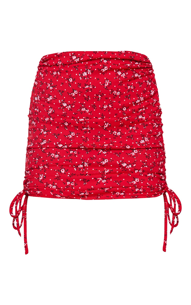 Red Floral Ribbed Ruched Mini Skirt 6