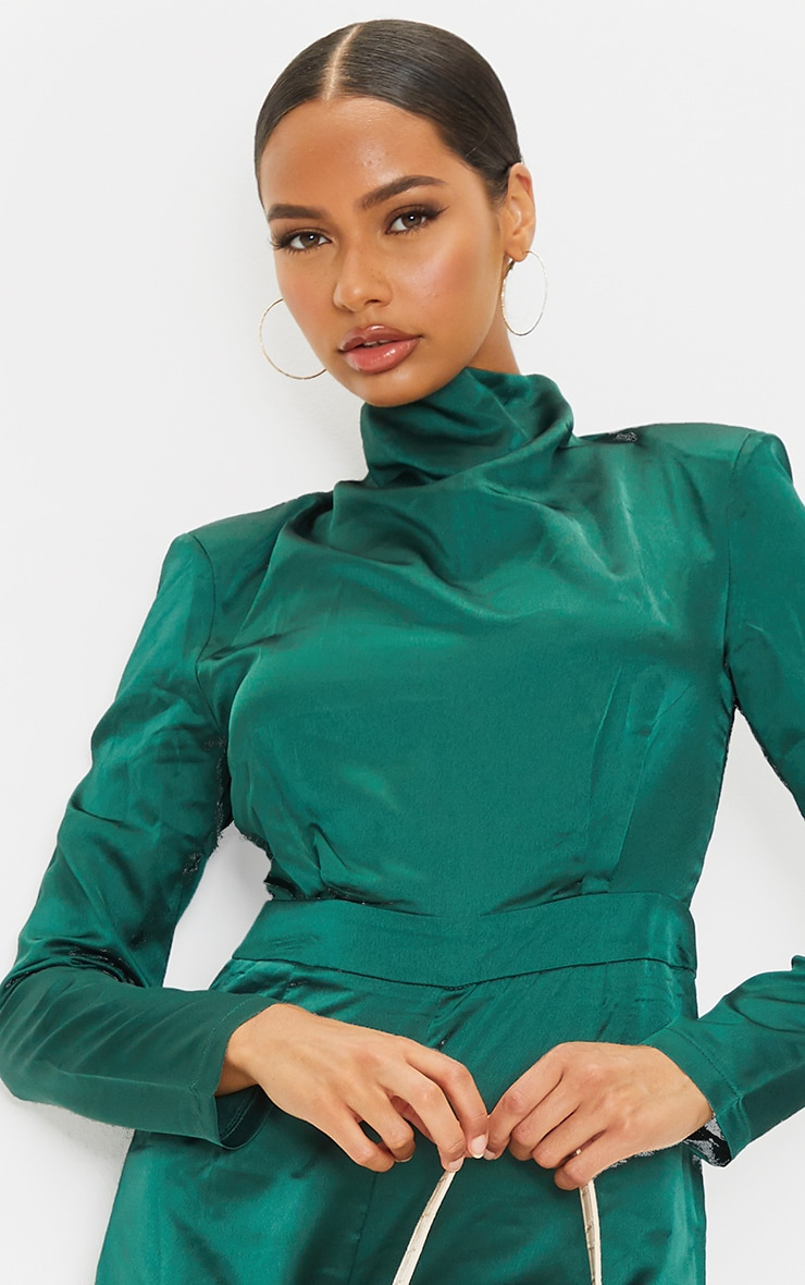 Emerald Green Draped Neck Shoulder Pad Playsuit 4