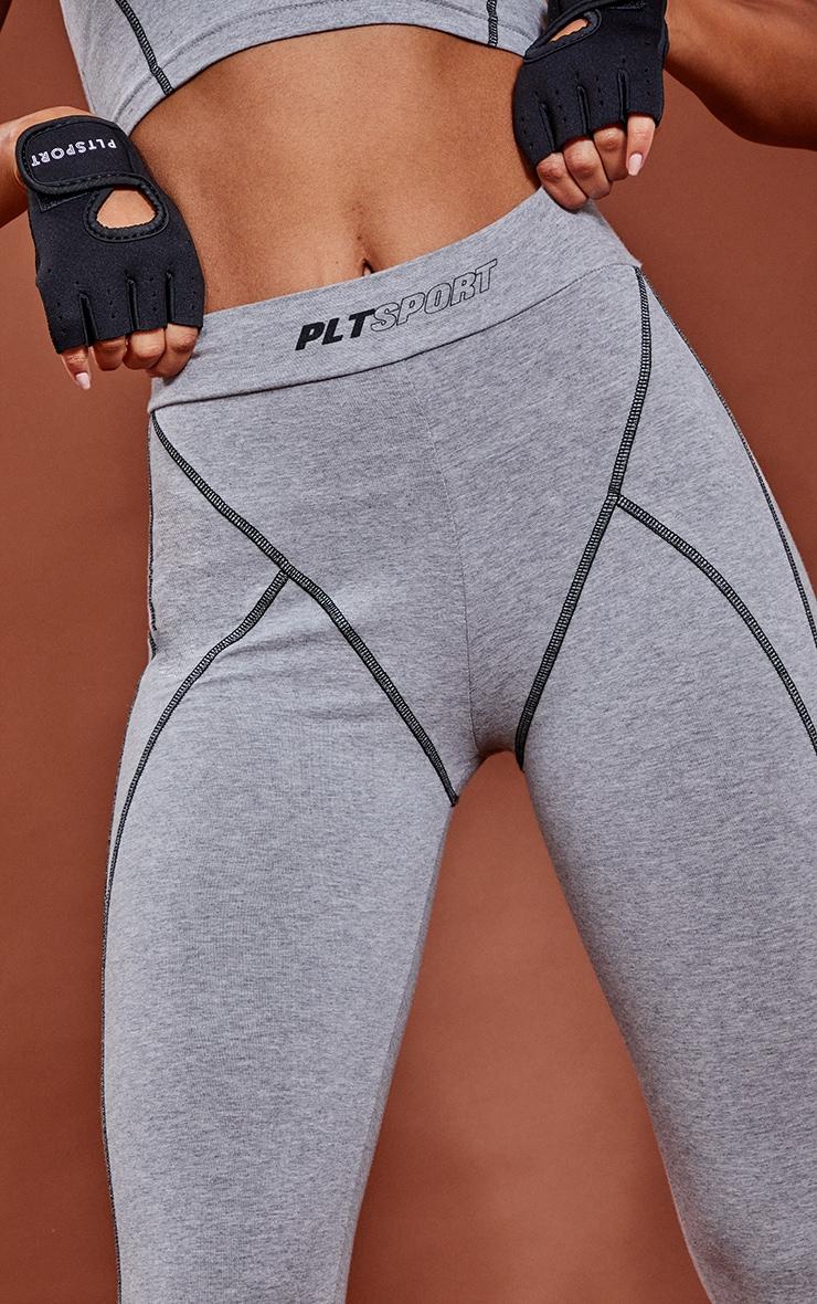 Grey Marl Cotton Luxe Stitch Detail Gym Leggings 4