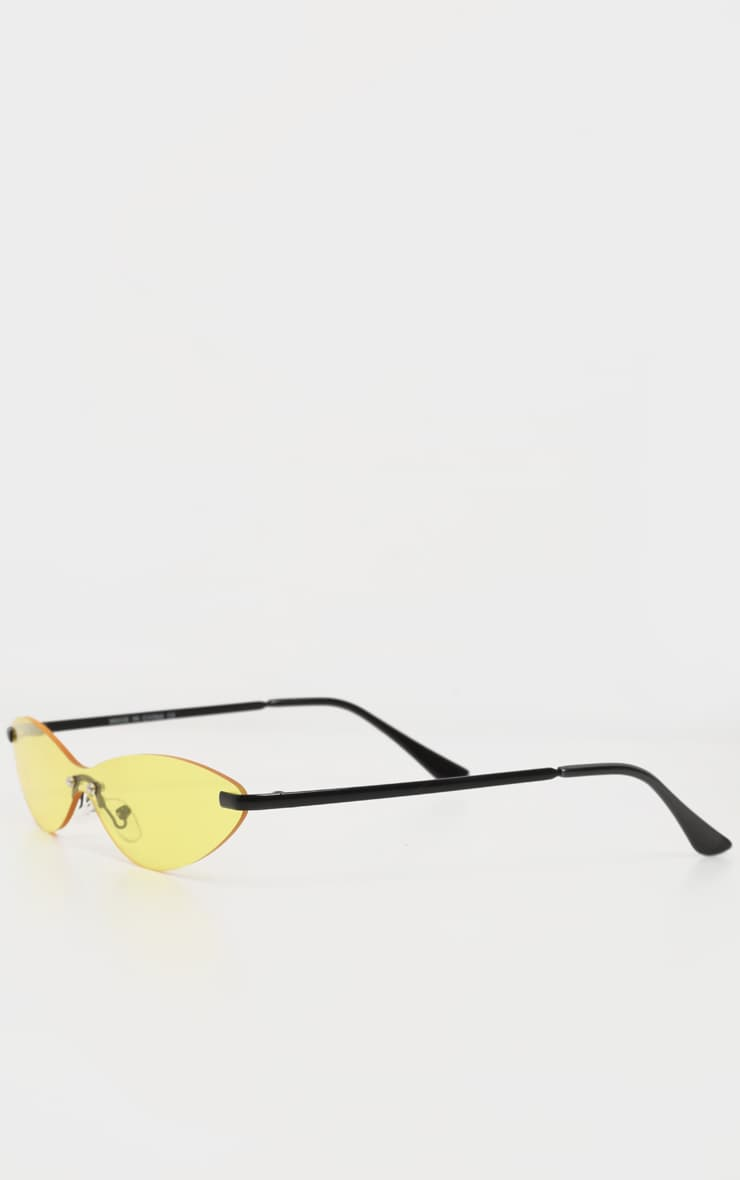Neon Yellow Tinted Frameless Slim Cat Eye Sunglasses 3