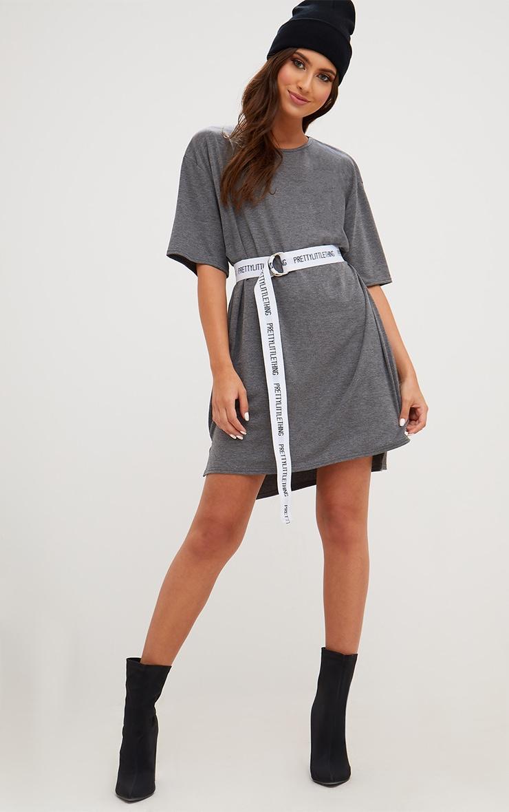 Charcoal Jersey Stepped Hem T Shirt Dress 4