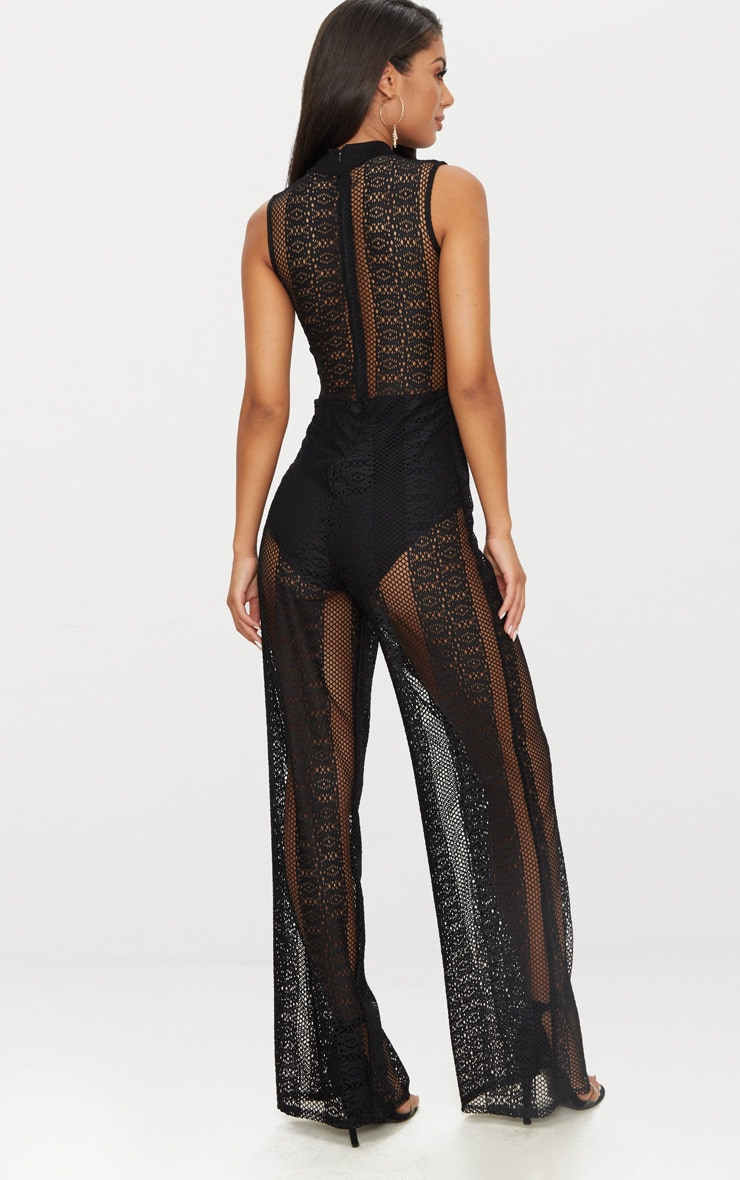 Black Lace High Neck Sleeveless Jumpsuit 2