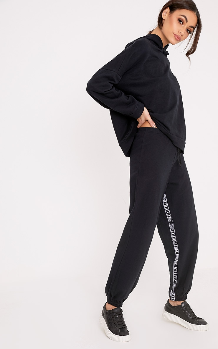 PrettyLittleThing Branded Black Joggers 1