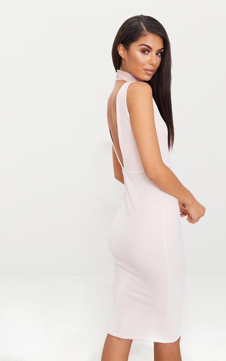 Nude High Neck Mesh Panel Midi Dress 2