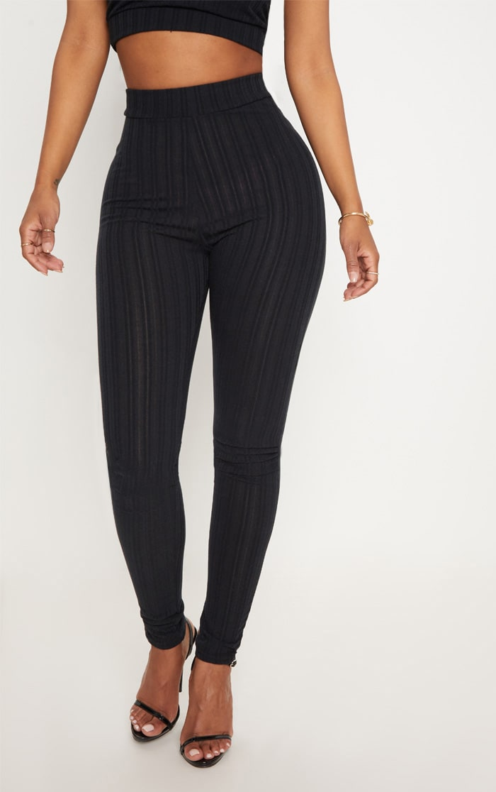 Shape Black High Waist Ribbed Leggings 2