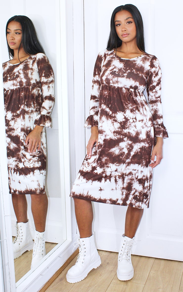 Petite Brown Long Sleeve Tie Dye Midi Smock Dress 1