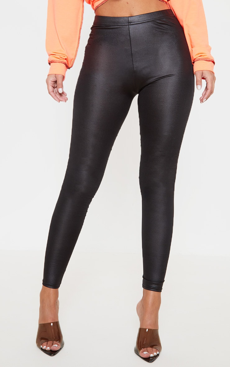 Petite Black Stretch PU Leggings 2