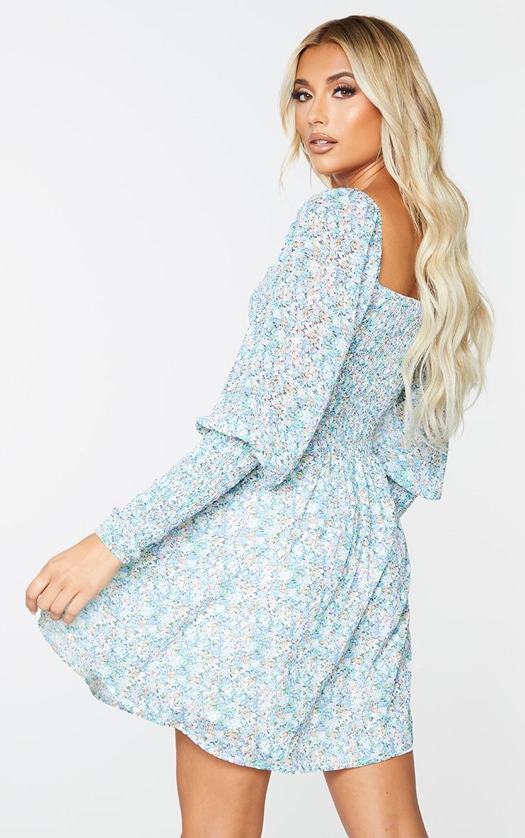 Multi Floral Print Chiffon Shirred Detail Pleated Skater Dress 2