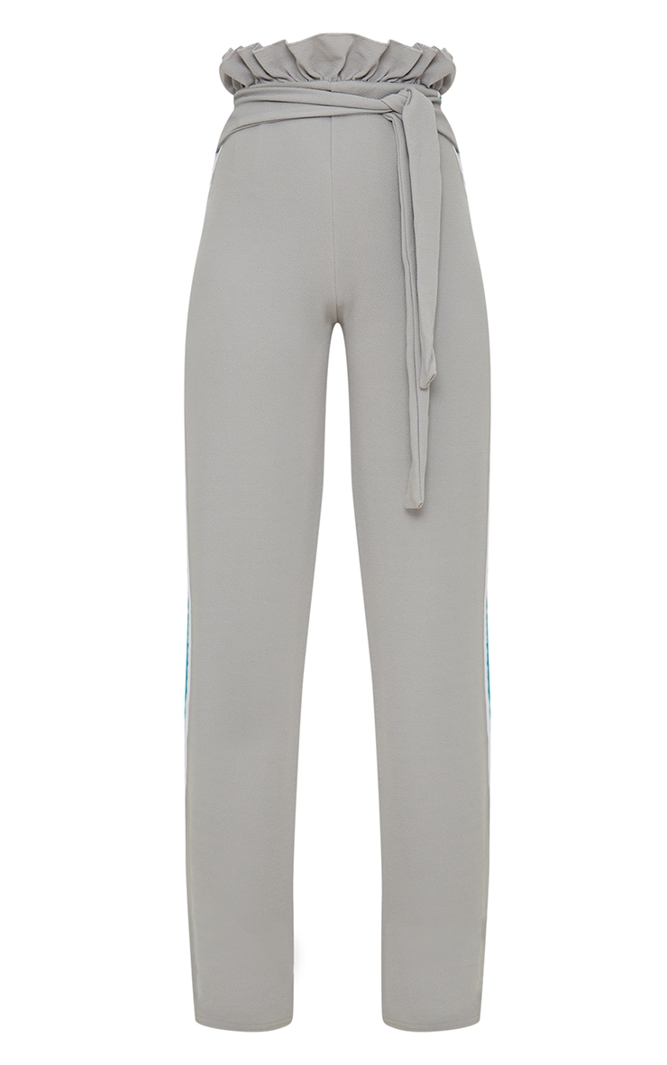 Grey Sport Stripe Paperbag Wide Leg Trouser 3