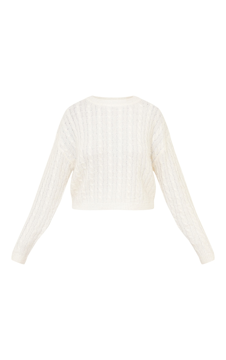 Cream All Over Cable Crop Fluffy Jumper 5
