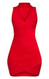 8aebe24c9c3 Amaris Red Choker Detail Ruched Wrap Front Bodycon Dress image 3